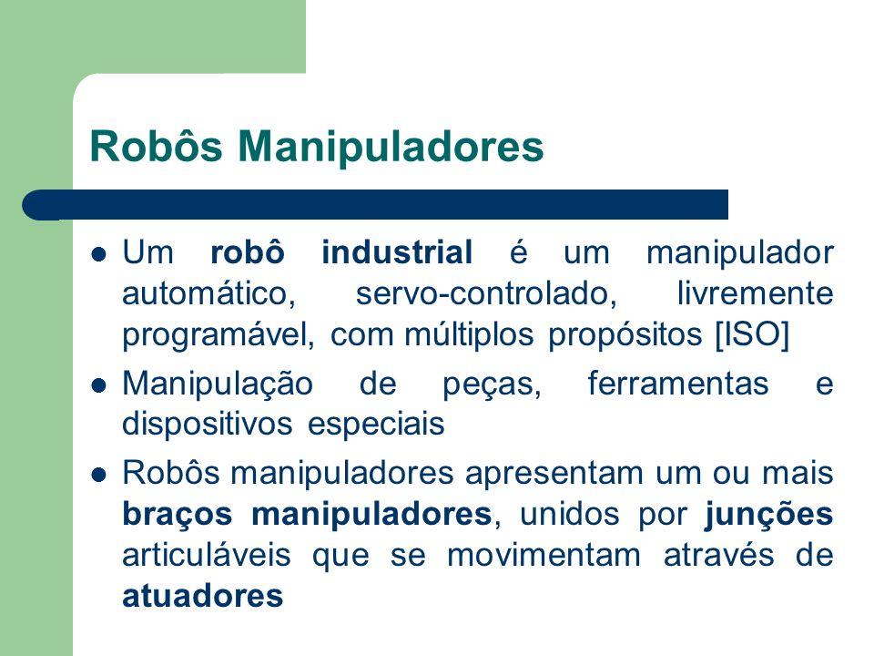 Robôs Manipuladores Um robô industrial é um manipulador automático, servo-controlado, livremente programável, com múltiplos propósitos [ISO]